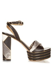 Salvatore Ferragamo Gaga Patchwork Platform Sandals Black White
