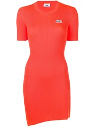 Gcds Asymmetric Knitted Fitted Dress Orange