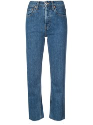 Re Done Cropped High Waisted Jeans Blue