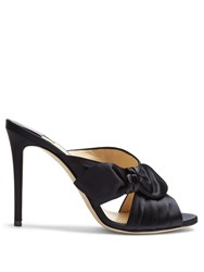 Jimmy Choo Keely 100Mm Side Bow Satin Mules Navy