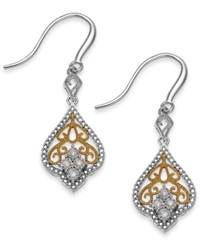 Macy's Diamond Antique Earrings In Sterling Silver And 14K Gold 1 10 Ct. T.W.