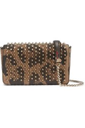 Christian Louboutin Zoompouch Spiked Leopard Print Leather Shoulder Bag Brown