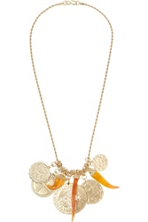 Kenneth Jay Lane Gold Plated Medallion Necklace