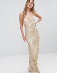 Tfnc Bandeau Maxi Dress In Wave Sequin Gold