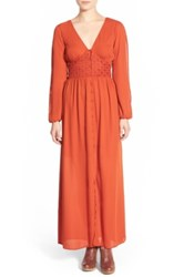 Fire Long Sleeve Maxi Dress Red