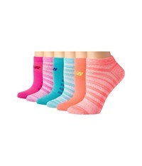 New Balance N032 Lifestyle No Show Socks 6 Pair Pack Assorted P No Show Socks Shoes Multi