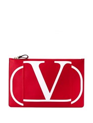 Valentino Garavani Logo Print Clutch Bag Red