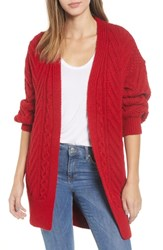 Topshop Long Open Front Cardi Red