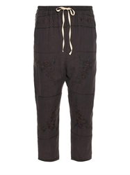 By Walid Vintage Embroidered Linen Cropped Trousers