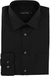 Double Two Men's King Size Long Sleeve Non Iron Poplin Shirt Black
