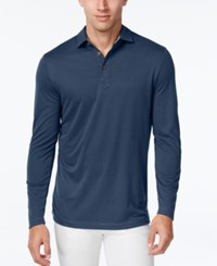 Tasso Elba Men's Performance Uv Protection Long Sleeve Polo Nautical Navy