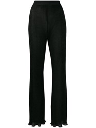 Alberta Ferretti Ribbed Wide Leg Trousers Black