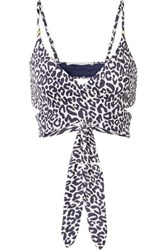 Stella Mccartney Leopard Print Wrap Bikini Top Navy