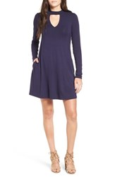 Socialite Women's Mock Neck Knit Shift Dress Navy