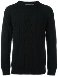 Alexander Mcqueen Skull Cable Knit Jumper Black