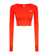 Adidas Techfit Cut Out Crop Top Female Orange