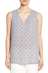 Pleione Women's Crepe V Neck Tank Dove Ink Merlot White