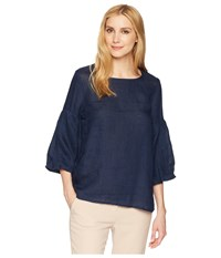 Allen Allen 3 4 Lantern Sleeve Top Lapis Long Sleeve Pullover Navy