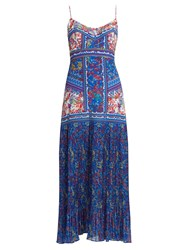 Saloni Veronica Sleeveless Begonia Print Silk Dress Blue Multi