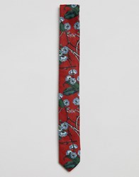 Asos Floral Tie In Red Red