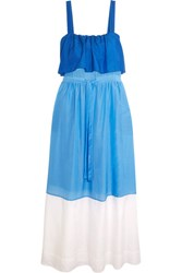 Diane Von Furstenberg Color Block Cotton And Silk Blend Maxi Dress Azure