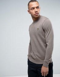 Lyle And Scott Crew Sweater Cotton Merino Knit Eagle Logo In Brown Marl Brown