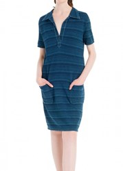 Leon Max Indigo Striped Pique Dress
