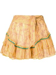 Poupette St Barth Belted Tiered Mini Skirt Yellow And Orange
