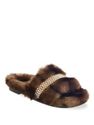 Kendall Kylie Shade Faux Fur Slippers Brown