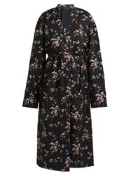 Haider Ackermann Freesia Floral Print Quilted Single Breasted Coat Black Multi