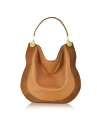 Diane Von Furstenberg Moon Whisky Leather And Suede Large Hobo Bag Brown