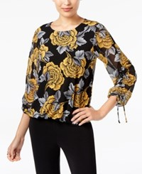 Alfani Petite Printed Bubble Hem Top Created For Macy's Ylw Linear Rose