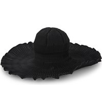 Issey Miyake Orbit Pleated Wide Brim Hat Black