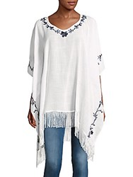 Embroidered Caftan Sleeve Top White
