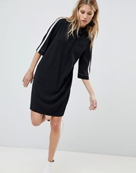 Mango Side Stripe Tunic Dress Black