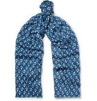 Anderson And Sheppard Printed Silk Cashmere Blend Twill Scarf Storm Blue