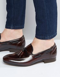 Hudson London Pierre Leather Hi Shine Loafers Red