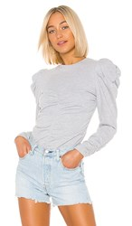 Central Park West Emerson Long Sleeve Top In Gray. Heather Grey