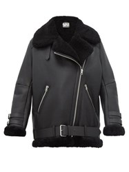 Acne Studios Velocite Leather And Shearling Aviator Jacket Black