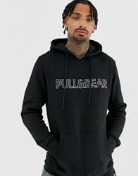 Pull And Bear Logo Hoodie In Black Black