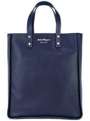 Salvatore Ferragamo Shopper Tote Blue