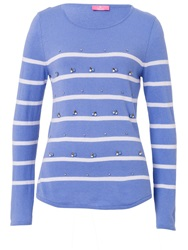 Basler Striped Sweater With Decorative Detail Blue