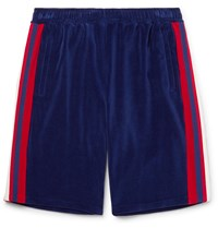 Gucci Grosgrain Trimmed Velour Shorts Blue