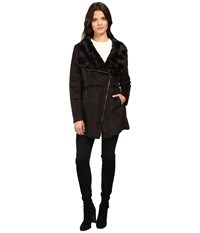 Jessica Simpson Faux Shearling Moto Jacket With Asymmetrical Zip Black Women's Coat