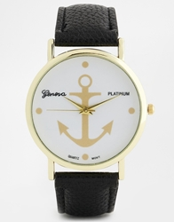 Reclaimed Vintage Anchor Print Black Strap Watch
