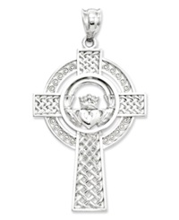 Macy's 14K White Gold Charm Celtic Claddagh Cross Charm