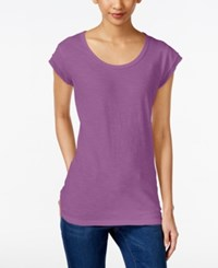 Style And Co Chiffon Trim T Shirt Only At Macy's Orchid Oasis