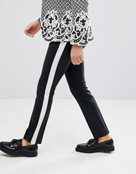 Noose And Monkey Super Skinny Pants In With Metallic Side Stripe Black