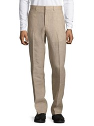 Black Brown Slim Fit Linen Pants Tan