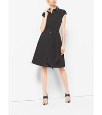 Cap Sleeve Cotton Poplin Wrap Dress